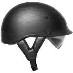 Outlaw T-72 Black Leather Dual-Visor Motorcycle Half Helmet