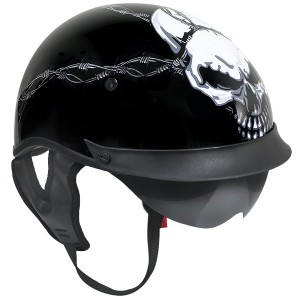 Outlaw T-72 Dual-Visor Glossy Motorcycle Half Helmet with Evil Barbed-Wire Skull Graphics