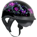 Outlaw T-72 Dual-Visor Glossy Motorcycle Half Helmet with Graphics of Flowers and Pink Skull Butterf