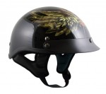 Outlaw X-223 Gloss Black with Starwings Half Face Motorcycle Helmet