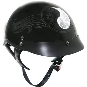 Outlaw XU143 Black Glossy Yin-Yang Tribal Graphics Motorcycle Half-Helmet