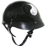 Outlaw XU143 Black Glossy Yin-Yang Tribal Graphics Motorcycle Half-Helmet