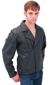 Beltless Long Back Vented Leather Motorcycle Jacket M4083VZK