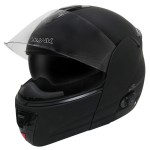 Hawk H-6611 Flat Black Dual-Visor Modular Motorcycle Helmet with Blinc Bluetooth