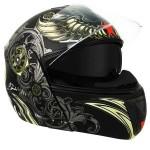 Hawk H-6615 Aviator Skull Dual-Visor Modular Black Matte Motorcycle Helmet