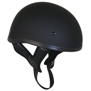 DOT Flat Black Motorcycle Skull Cap Half Helmet with No Outlaw T68 Graphic Logo