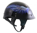 DOT Outlaw X219 Gloss Black with Blue Feathers Half Helmet