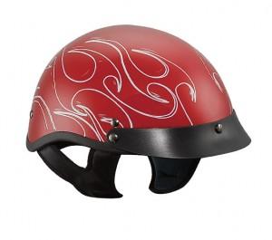 DOT Outlaw x218 White Tribal Flames Red Half Helmet