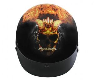 DOT Outlaw xu211 Gloss Black with Flaming Horned Skull Half Helmet