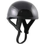 DOT T68 Black Glossy Motorcycle Skull Cap Half Helmet