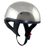 DOT T68 Chrome Motorcycle Skull Cap Half Helmet