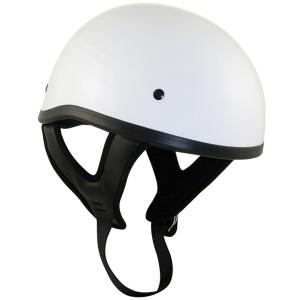 DOT T68 White Glossy Motorcycle Skull Cap Half Helmet
