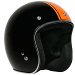 Outlaw Retro-5044 Rally Racing Orange Stripe Open Face Helmet