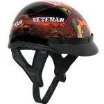Outlaw T-70 Glossy Motorcycle Half Helmet with Vietnam-Veteran-of-America Graphics