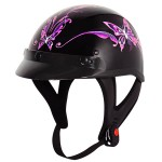 Outlaw T-70 Pink Butterfly Glossy Motorcycle Half Helmet