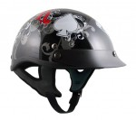 Outlaw X222- Gloss Black with Ace of Spade Half Face Motorcycle Helmet