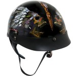 Outlaw XU141 Black Glossy Native American Skull-Graphics Motorcycle Half-Helmet