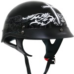 Outlaw XU142 Black Glossy Christian-Cross Motorcycle Half-Helmet