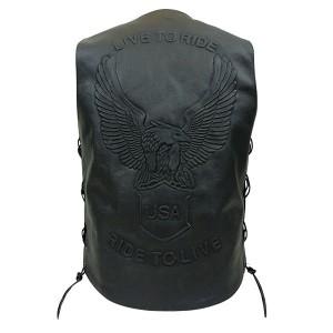 Black Leather Motorcycle Vest with Black Eagle Embossing MV3092