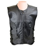 Mens Bulletproof Style Leather Vest MV120