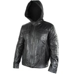 Xelement Mens Cafe Racer Black Casual Leather Jacket with Hoodie SFT-00138