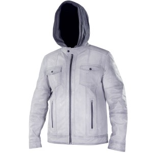 Xelement Mens Cafe Racer Grey Casual Leather Jacket with Hoodie SFT-00135