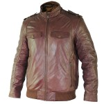 Xelement Mens Cognac Bomber Leather Jacket SFT-00140