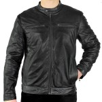 Xelement Mens Moto Racer Black Casual Leather Jacket SFT-00107