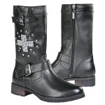 Xelement Womens Stud Cross Leather Biker Boots LU8596