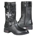 Xelement Womens Stud Cross Leather Biker Boots LU8596