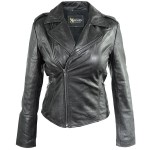 Xelement Womens Black Classic Casual Leather Jacket SFT-00160