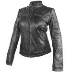 Xelement Womens Cafe Racer Black Casual Leather Jacket SFT-00175