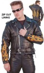 Embroidered Flame Leather Motorcycle Jacket M8025ZYFL-06