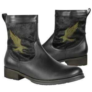 Xelement Men's Engineer Leather/Horse Hair Zipper Boot with Eagle LU9019
