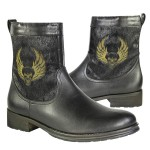 Xelement Men's Engineer Leather/Horse Hair Zipper Boot with Skull LU9020