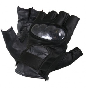 Men's Leather Knuckle Protected Riding Fingerless Gloves X1475