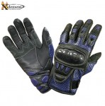 Xelement Black and Blue Leather Motorcycle Racing Gloves XG-298B