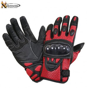 Xelement Black and Red Leather Motorcycle Racing Gloves XG-298B