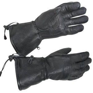 Xelement XG-856 Deerskin Insulated Padded Motorcycle Gauntlet Gloves with Visor Squeegee XG-856