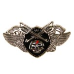 Rebel Crossed 6 Shooters and Skull Belt Buckle BU-216