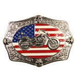 United States Flag and Motorcycle Buckle BU-210
