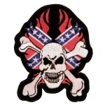 Confederate Rebel Skull With Crossbone Patch PT8379