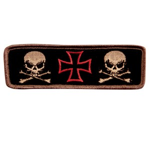 Iron Cross With Two Skulls 4.5 Inch Biker Patch PT8387