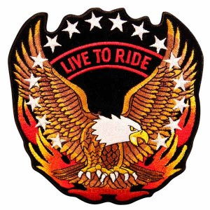 Live To Ride With Eagle And Flames On Side Patch PT8447