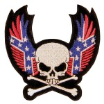 Skull With Crossbone and Rebel Wings Patch PT8401