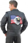 Motorcycle Jacket with Flag Back Patch in Buffalo Leather M3990FLAG