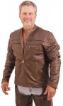 Antiqued Brown Leather Motorcycle Jacket - Scooter Style with Vents M9PVZN-02
