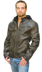 Brown Distressed Jacket with Removable Hood MC162791HN-03