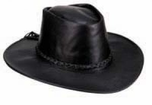 Black Leather Down Under Western Cowboy Hat AC106