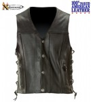 Xelement Naked American Cowhide Leather Motorcycle Vest with Buffalo Buttons B4744